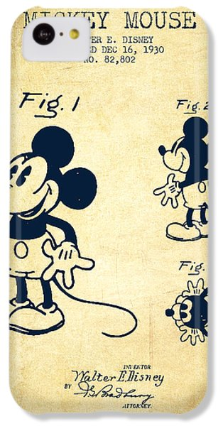 Mickey Mouse Patent Drawing From 1930 - Vintage IPhone 5c Case by Aged Pixel