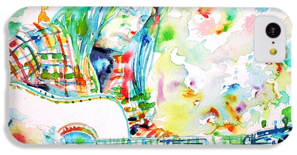 Neil Young Playing The Guitar - Watercolor Portrait.1 IPhone 5c Case by Fabrizio Cassetta