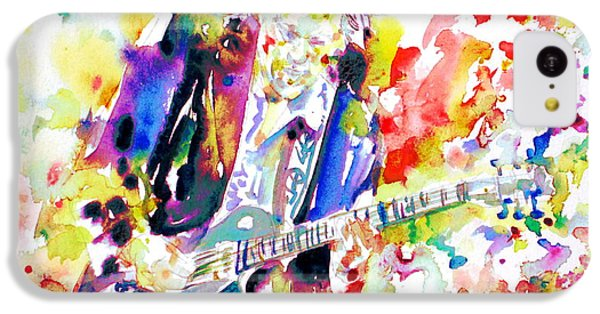 Neil Young Playing The Guitar - Watercolor Portrait.2 IPhone 5c Case by Fabrizio Cassetta