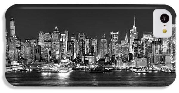 New York City Nyc Skyline Midtown Manhattan At Night Black And White IPhone 5c Case by Jon Holiday