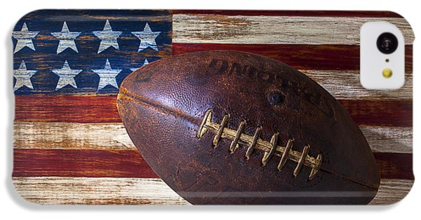 Old Football On American Flag IPhone 5c Case by Garry Gay