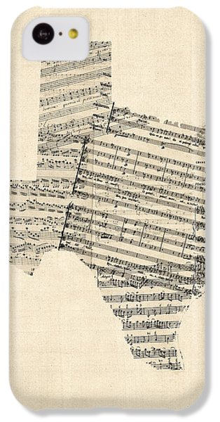 Old Sheet Music Map Of Texas IPhone 5c Case by Michael Tompsett