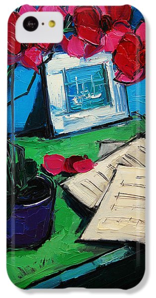 Orchid And Piano Sheets IPhone 5c Case by Mona Edulesco