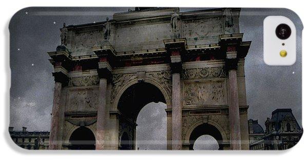 Paris Arc Du Carousel - Louvre Museum Arc De Triomphe - Starry Night Blue Paris Louvre Courtyard IPhone 5c Case by Kathy Fornal