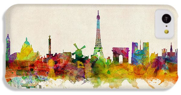 Paris France Skyline Panoramic IPhone 5c Case by Michael Tompsett