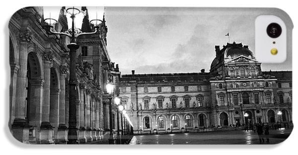 Paris Louvre Museum Lanterns Lamps - Paris Black And White Louvre Museum Architecture IPhone 5c Case by Kathy Fornal