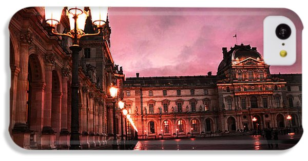 Paris Louvre Museum Night Architecture Street Lamps - Paris Louvre Museum Lanterns Night Lights IPhone 5c Case by Kathy Fornal