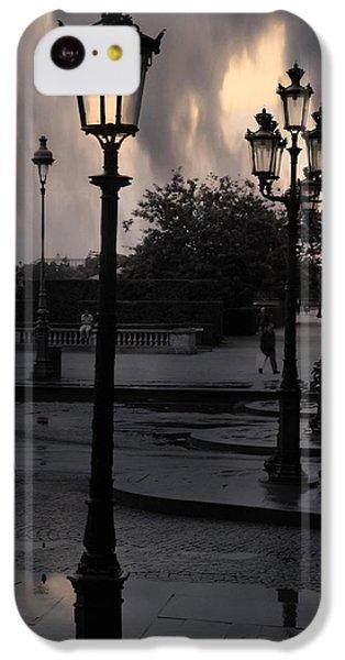 Paris Surreal Louvre Museum Street Lanterns Lamps - Paris Gothic Street Lamps Black Clouds IPhone 5c Case by Kathy Fornal