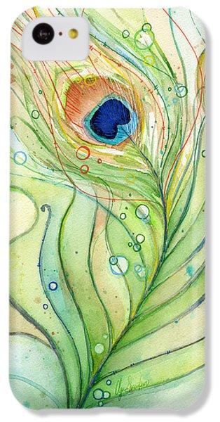 Peacock Feather Watercolor IPhone 5c Case by Olga Shvartsur