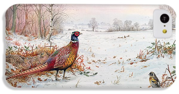 Pheasant And Bramblefinch In The Snow IPhone 5c Case by Carl Donner