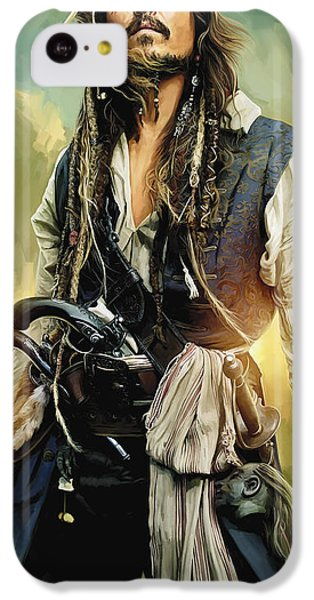 Pirates Of The Caribbean Johnny Depp Artwork 1 IPhone 5c Case by Sheraz A