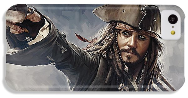 Pirates Of The Caribbean Johnny Depp Artwork 2 IPhone 5c Case by Sheraz A