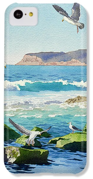 Point Loma Rocks Waves And Seagulls IPhone 5c Case by Mary Helmreich