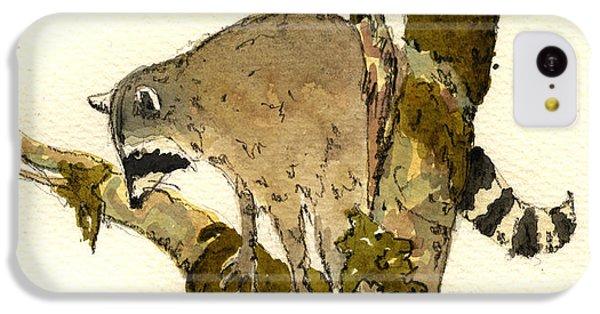 Raccoon On A Tree IPhone 5c Case by Juan  Bosco