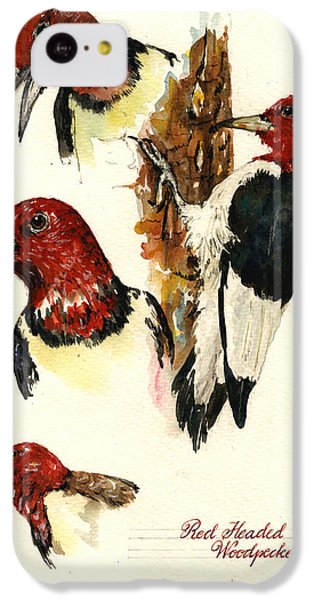 Red Headed Woodpecker Bird IPhone 5c Case by Juan  Bosco