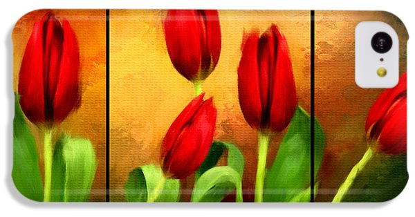 Red Tulips Triptych IPhone 5c Case by Lourry Legarde