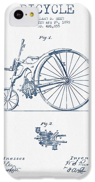 Reed Bicycle Patent Drawing From 1890 - Blue Ink IPhone 5c Case by Aged Pixel