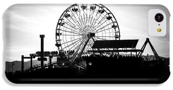 Santa Monica Ferris Wheel Black And White Photo IPhone 5c Case by Paul Velgos