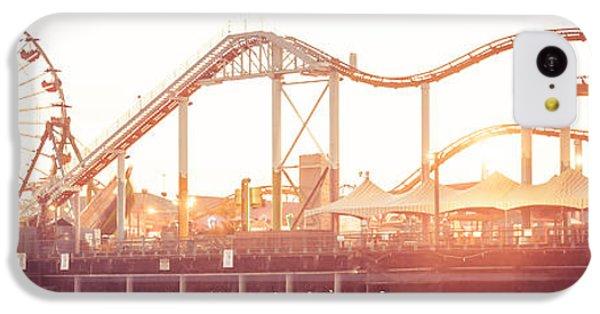 Santa Monica Pier Roller Coaster Panorama Photo IPhone 5c Case by Paul Velgos