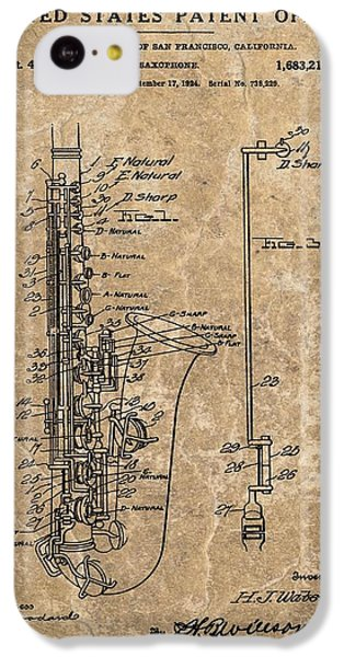Saxophone Patent Design Illustration IPhone 5c Case by Dan Sproul