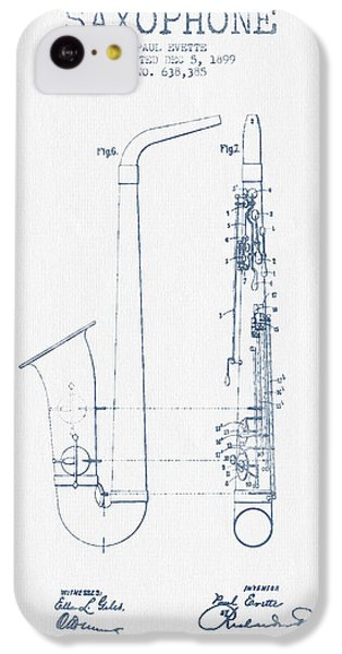 Saxophone Patent Drawing From 1899 - Blue Ink IPhone 5c Case by Aged Pixel
