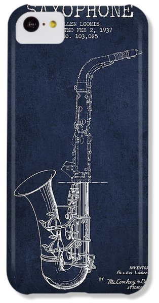 Saxophone Patent Drawing From 1937 - Blue IPhone 5c Case by Aged Pixel