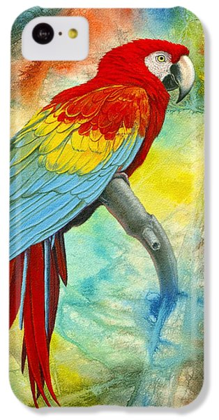 Scarlet Macaw In Abstract IPhone 5c Case by Paul Krapf