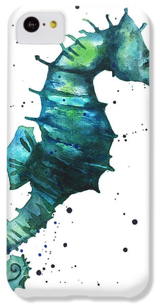 Seahorse In Teal IPhone 5c Case by Alison Fennell
