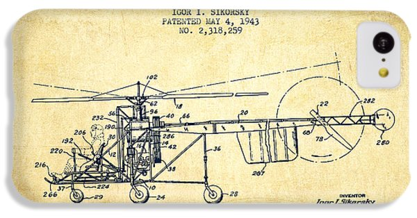 Sikorsky Helicopter Patent Drawing From 1943-vintgae IPhone 5c Case by Aged Pixel