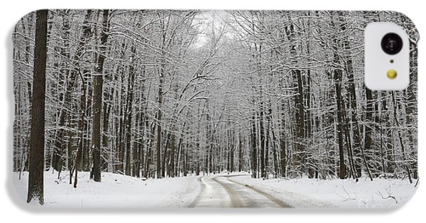 Snowy Road In Oak Openings 7058 IPhone 5c Case by Jack Schultz
