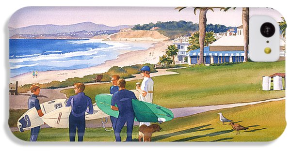 Surfers Gathering At Del Mar Beach IPhone 5c Case by Mary Helmreich