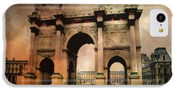 Surreal Paris Arc De Triomphe Louvre Arch Courtyard Sepia Soft Bokeh IPhone 5c Case by Kathy Fornal