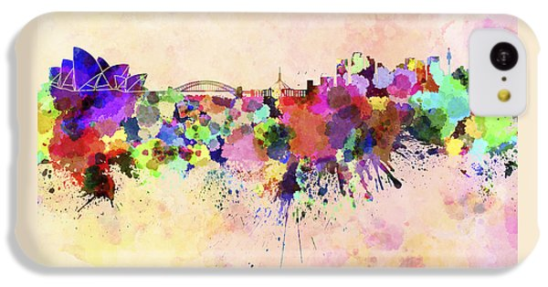 Sydney Skyline In Watercolor Background IPhone 5c Case by Pablo Romero