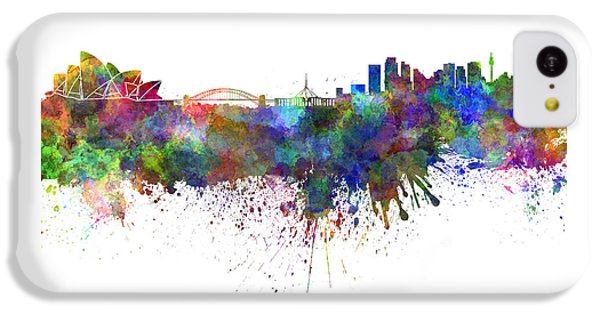 Sydney Skyline In Watercolor On White Background IPhone 5c Case by Pablo Romero