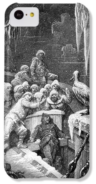 The Albatross Being Fed By The Sailors On The The Ship Marooned In The Frozen Seas Of Antartica IPhone 5c Case by Gustave Dore