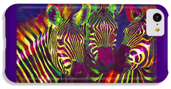 Three Rainbow Zebras IPhone 5c Case by Jane Schnetlage