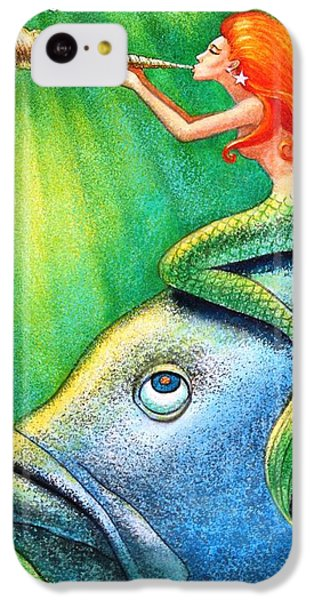 Toot Your Own Seashell Mermaid IPhone 5c Case by Sue Halstenberg