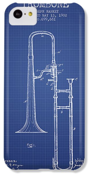 Trombone Patent From 1902 - Blueprint IPhone 5c Case by Aged Pixel