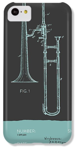 Trombone Patent From 1902 - Modern Gray Blue IPhone 5c Case by Aged Pixel