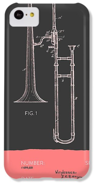 Trombone Patent From 1902 - Modern Gray Salmon IPhone 5c Case by Aged Pixel