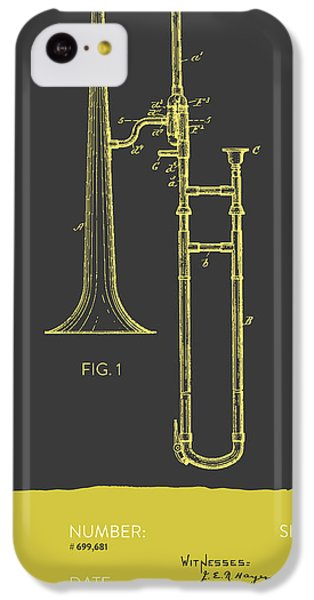 Trombone Patent From 1902 - Modern Gray Yellow IPhone 5c Case by Aged Pixel