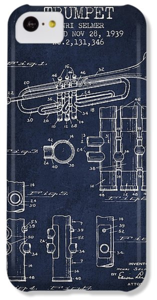 Trumpet Patent From 1939 - Blue IPhone 5c Case by Aged Pixel