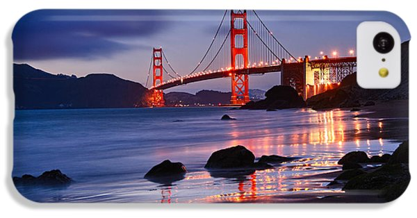 Twilight - Beautiful Sunset View Of The Golden Gate Bridge From Marshalls Beach. IPhone 5c Case by Jamie Pham