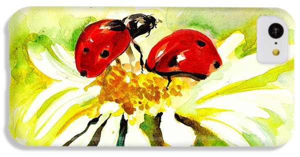 Two Ladybugs In Daisy After My Original Watercolor IPhone 5c Case by Tiberiu Soos