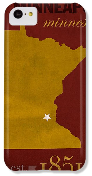 University Of Minnesota Golden Gophers Minneapolis College Town State Map Poster Series No 066 IPhone 5c Case by Design Turnpike