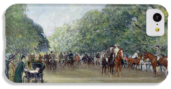View Of Hyde Park With Figures On Rotten Row  IPhone 5c Case by Albert Jnr Ludovici