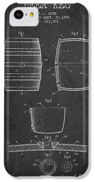 Vintage Beer Keg Patent Drawing From 1898 - Dark IPhone 5c Case by Aged Pixel