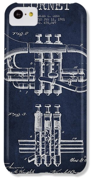Cornet Patent Drawing From 1901 - Blue IPhone 5c Case by Aged Pixel