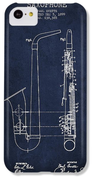 Saxophone Patent Drawing From 1899 - Blue IPhone 5c Case by Aged Pixel