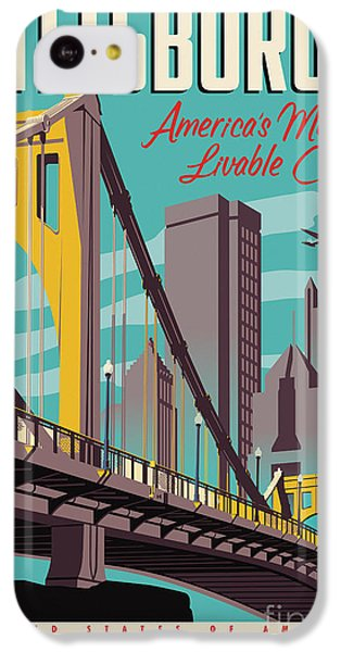 Vintage Style Pittsburgh Travel Poster IPhone 5c Case by Jim Zahniser